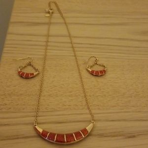Red and gold costume necklace and earring set